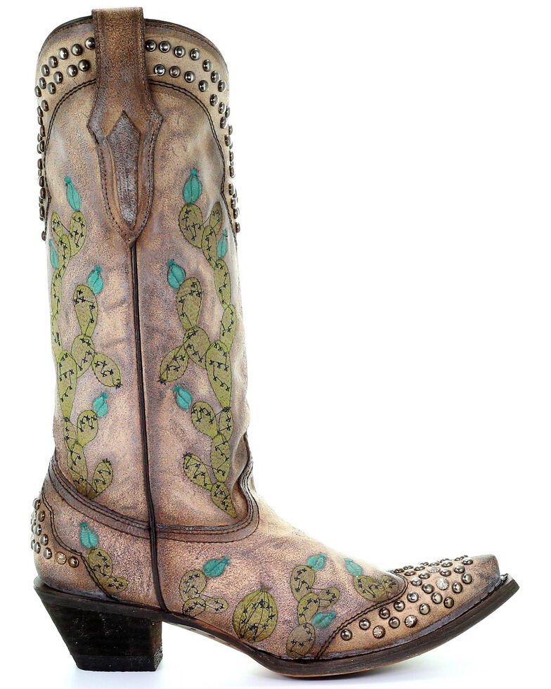 Corral Women's Nopal Cactus Embroidery Western Boots - Snip Toe, Brown, hi-res