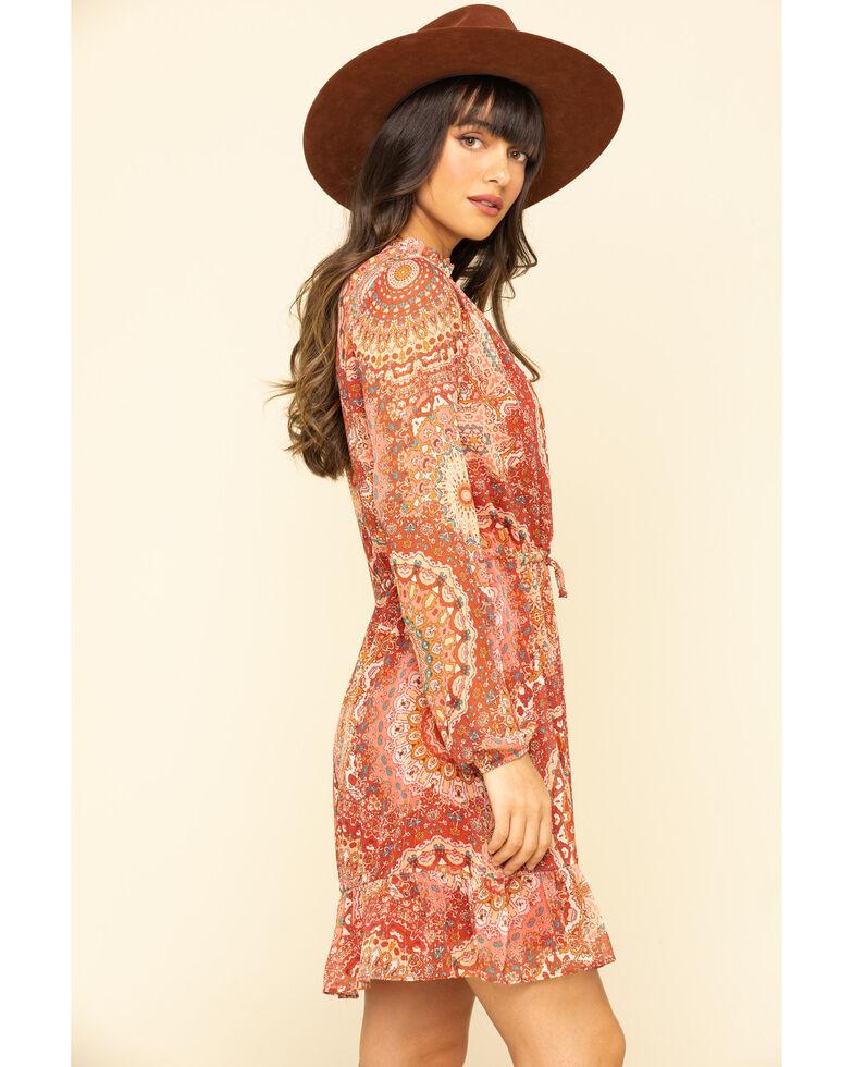 Miss Me Women's Red Medallion Chiffon Long Sleeve Dress, Rust Copper, hi-res