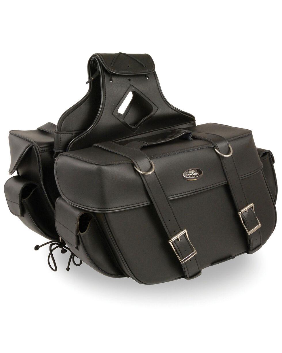 Milwaukee Leather Large Zip-Off Throw Over Saddle Bag, Black, hi-res