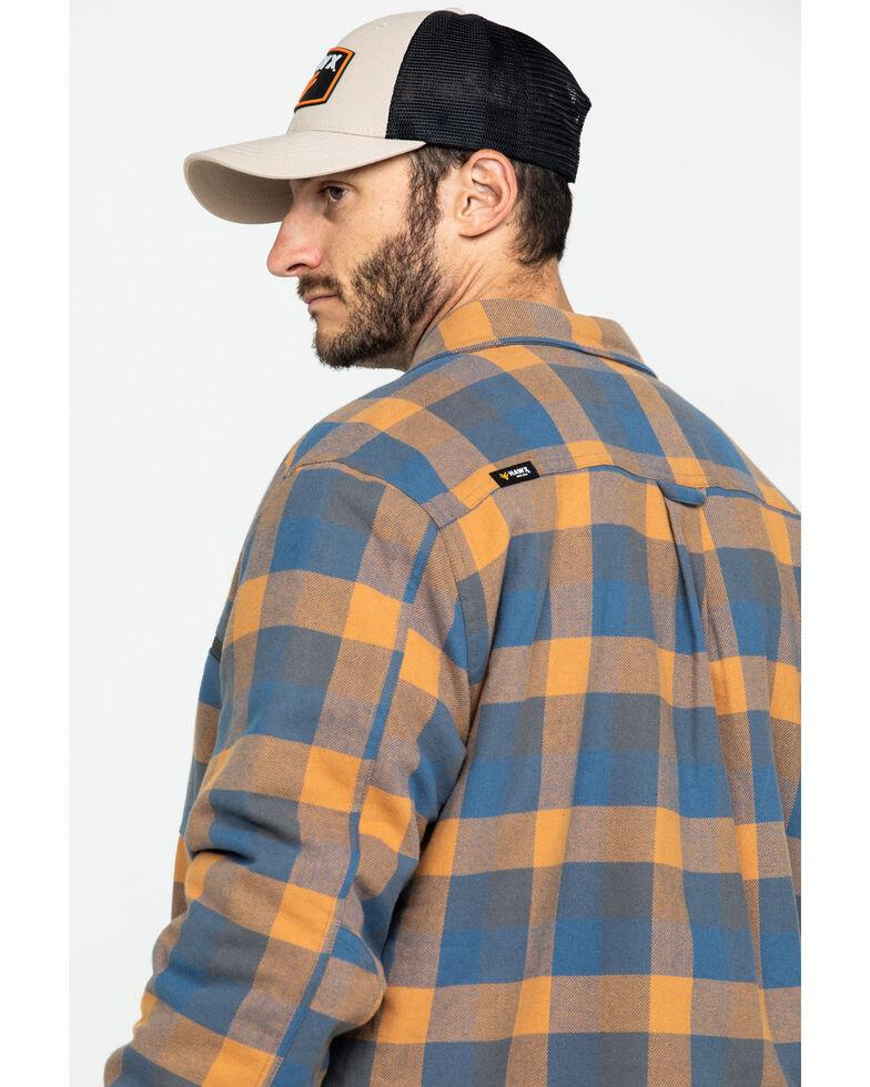 Hawx Men's Khaki Sherpa Lined Plaid Zip Front Shirt Work Jacket - Tall , Beige/khaki, hi-res