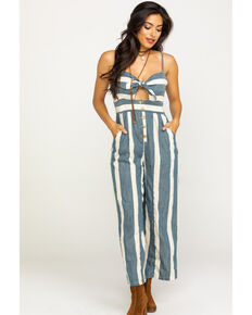 Angie Women's Blue & White Stripe Bow Front Jumpsuit, Blue, hi-res