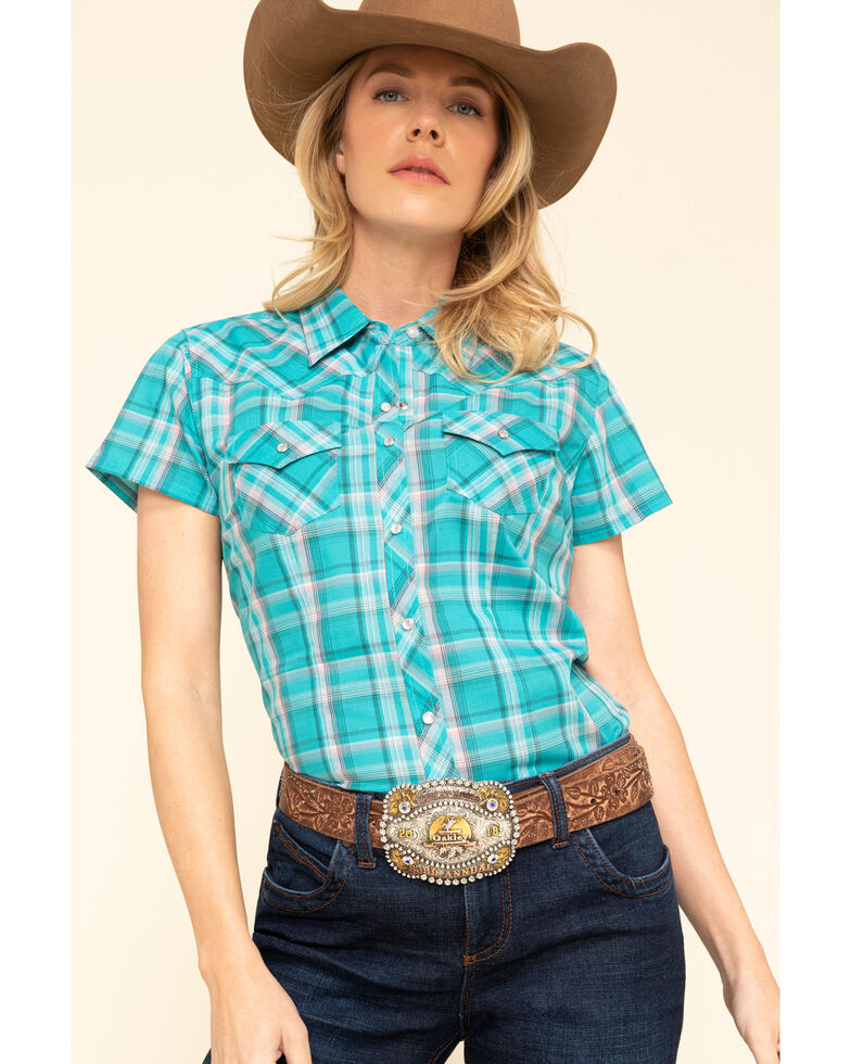 Cumberland Outfitters Women's Teal Plaid Short Sleeve Western Top , Teal, hi-res