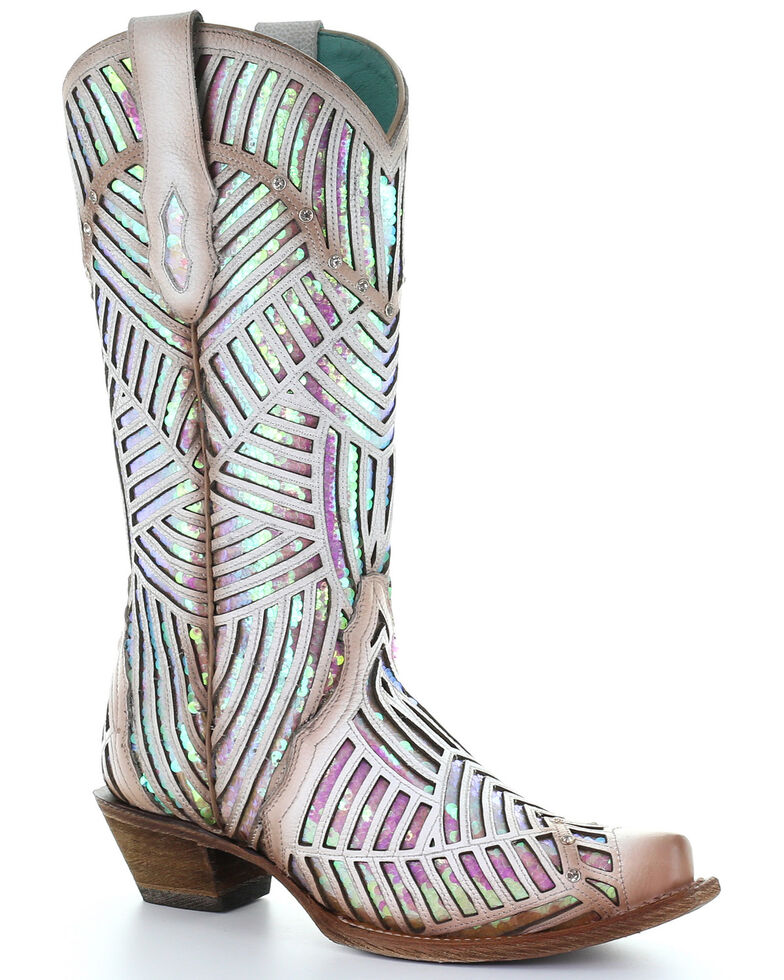 Corral Women's White Bright Inlay Western Boots - Snip Toe, White, hi-res