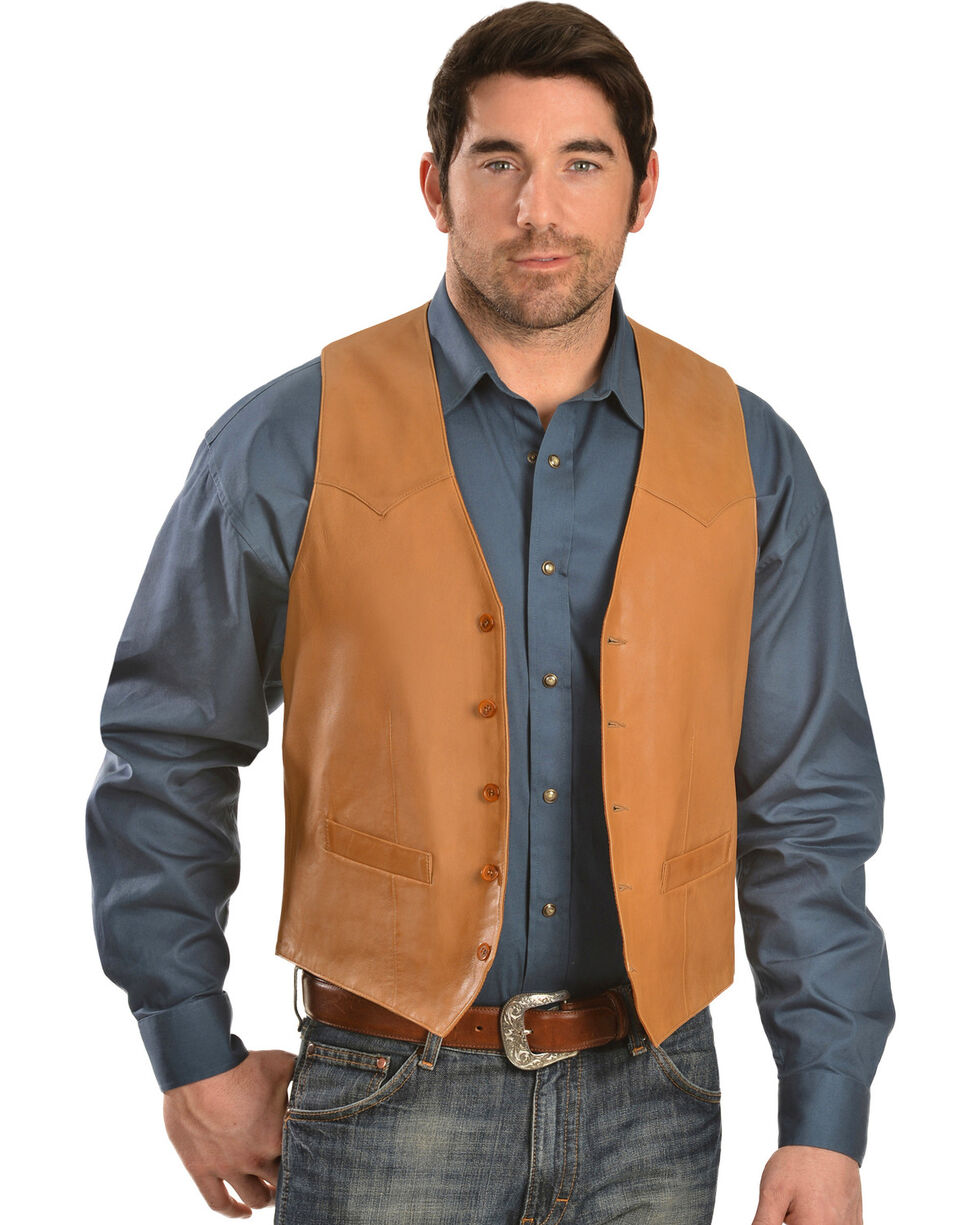 Scully Men's Basic Lambskin Vest, Tan, hi-res