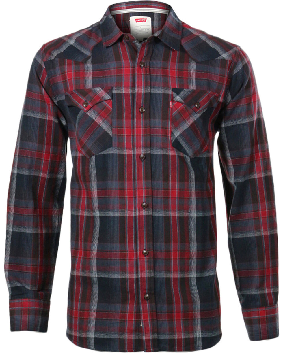 Levi's Men's Long Sleeve Flannel Plaid Shirt, Brown, hi-res