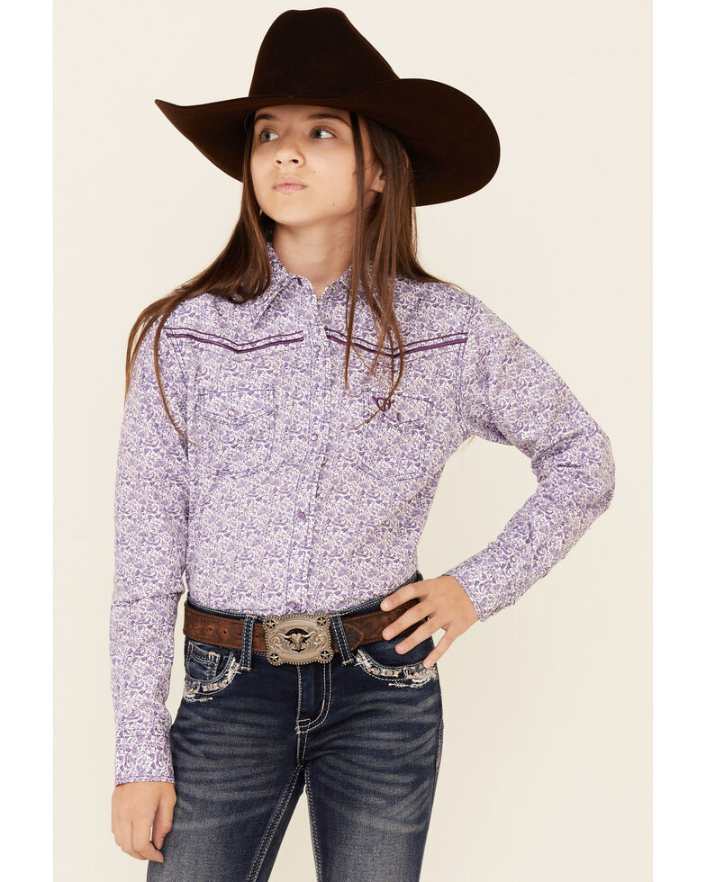 Cowgirl Hardware Girls' Purple Paisley Print Long Sleeve Snap Western Shirt , Purple, hi-res