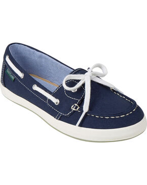 Eastland Women's Navy Canvas Skip Boat Shoe Slip-Ons , Navy, hi-res