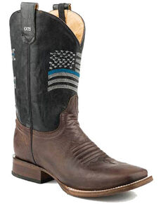 Roper Men's Thin Blue Line Western Boots - Square Toe, Brown, hi-res