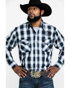 Jack Daniel's Men's Textured Plaid Embroidered Long Sleeve Western Shirt , Black, hi-res