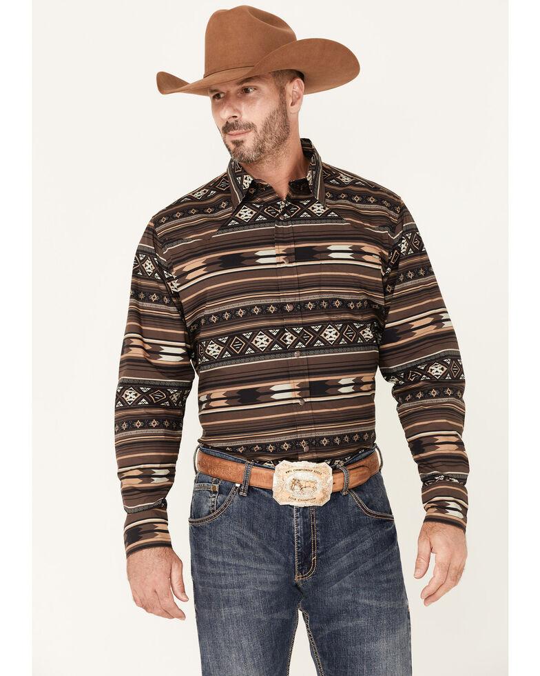 Tin Haul Men's Brown Aztec Stripe Long Sleeve Snap Western Shirt , Brown, hi-res