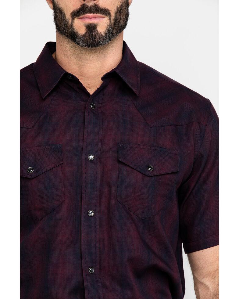 Gibson Men's Picket Fence Plaid Short Sleeve Western Shirt , Maroon, hi-res