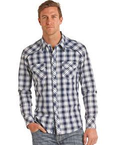 Rock & Roll Cowboy Men's Bleach Washed Plaid Long Sleeve Shirt, Blue, hi-res