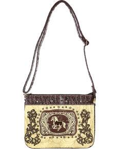 Savana Women's Embroidered Horse and Floral Embossed Western Handbag, Ivory, hi-res