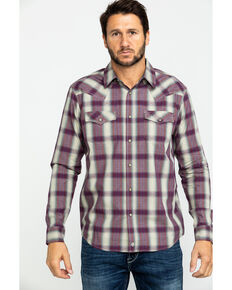 Moonshine Spirit Men's Paydirt Plaid Long Sleeve Western Shirt , Grey, hi-res
