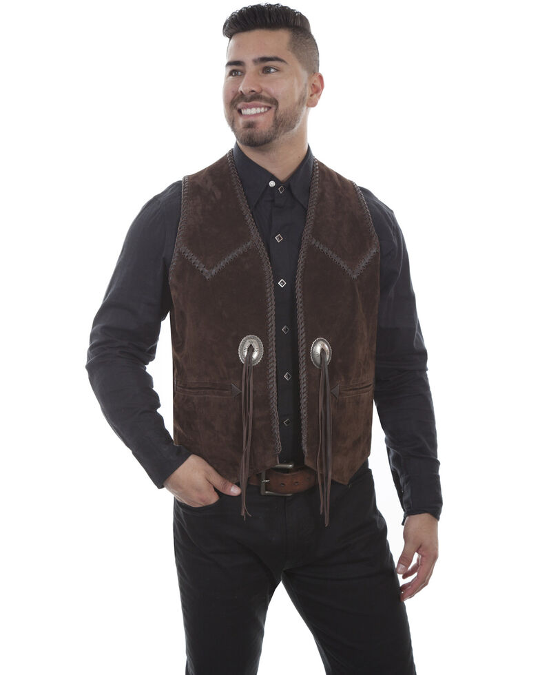 Scully Men's Expresso Boar Suede Vest, Coffee, hi-res
