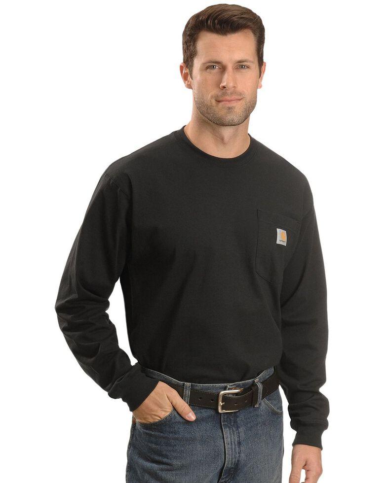 Carhartt Men's Solid Pocket Long Sleeve Work T-Shirt , Black, hi-res
