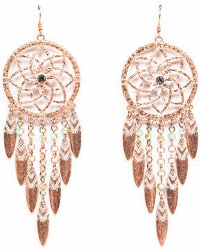 Shyanne Women's Wanderlust Dream Catcher Aztec Washed Feather Earrings, Tan/copper, hi-res