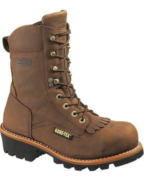 Wolverine Men's Chesapeake Steel Toe Waterproof Insulated Logger Boots, Brown, hi-res
