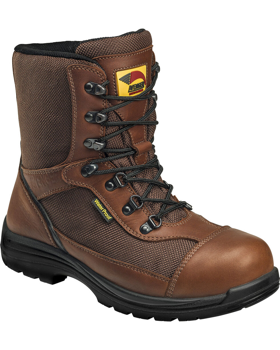 Avenger Boots Men's Waterproof Insulated Work Boots - Composite Toe, Brown, hi-res