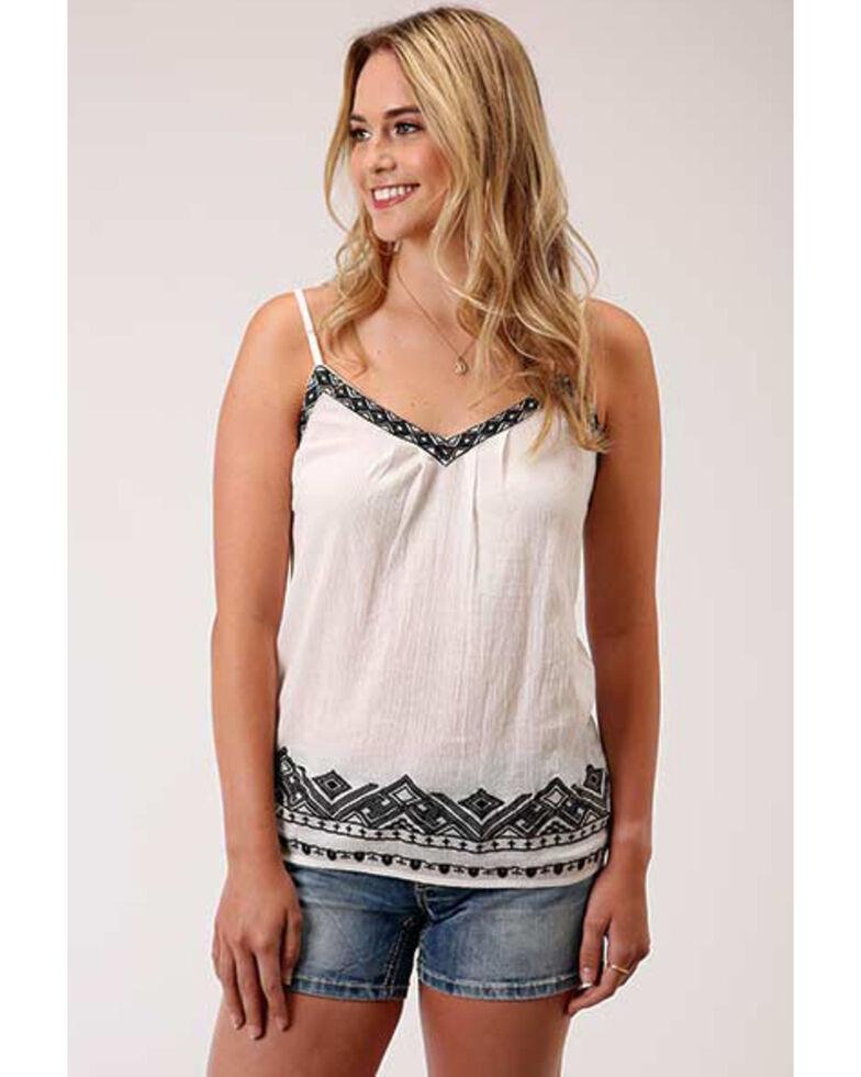 Roper Women's White Cotton Crepe Embroidered Trim Cami , White, hi-res