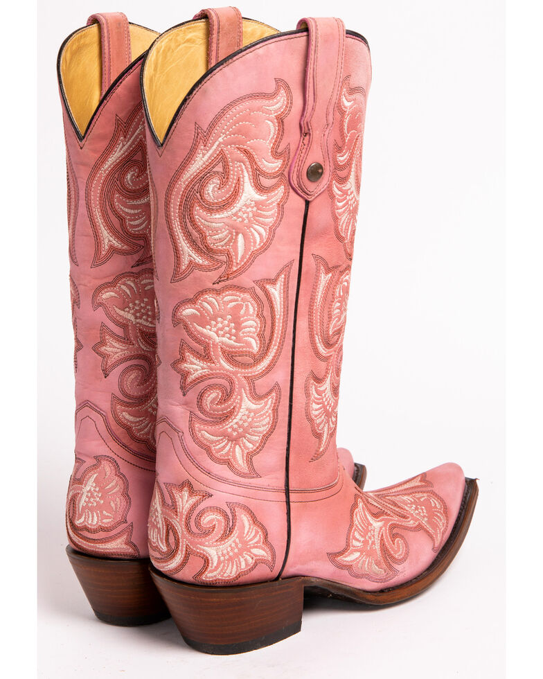 Corral Women's Floral Stitched Snip Toe Western Boots, , hi-res