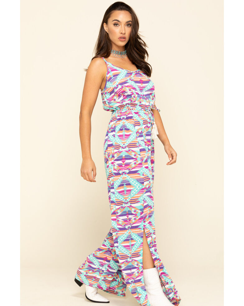 Rock & Roll Cowgirl Women's Turquoise Aztec Stripe Jumpsuit , Turquoise, hi-res