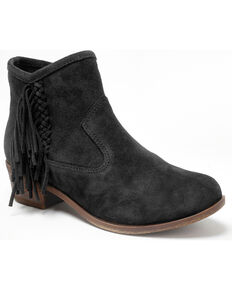 Minnetonka Women's Blake Fringe Booties - Round Toe, Black, hi-res