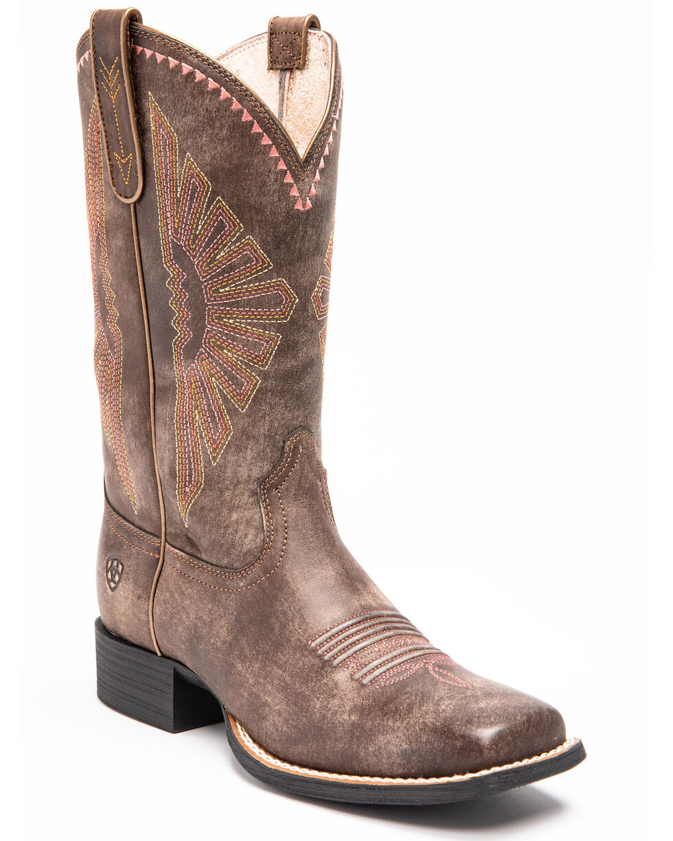 Ariat Women's Round Up Rio Western Performance Boots - Square Toe, Dark Brown, hi-res