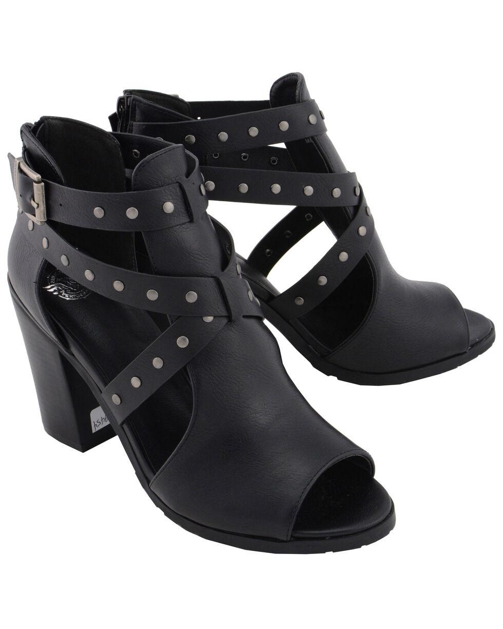 Milwaukee Performance Women's Platform Heel Studded Strap Sandals, Black, hi-res