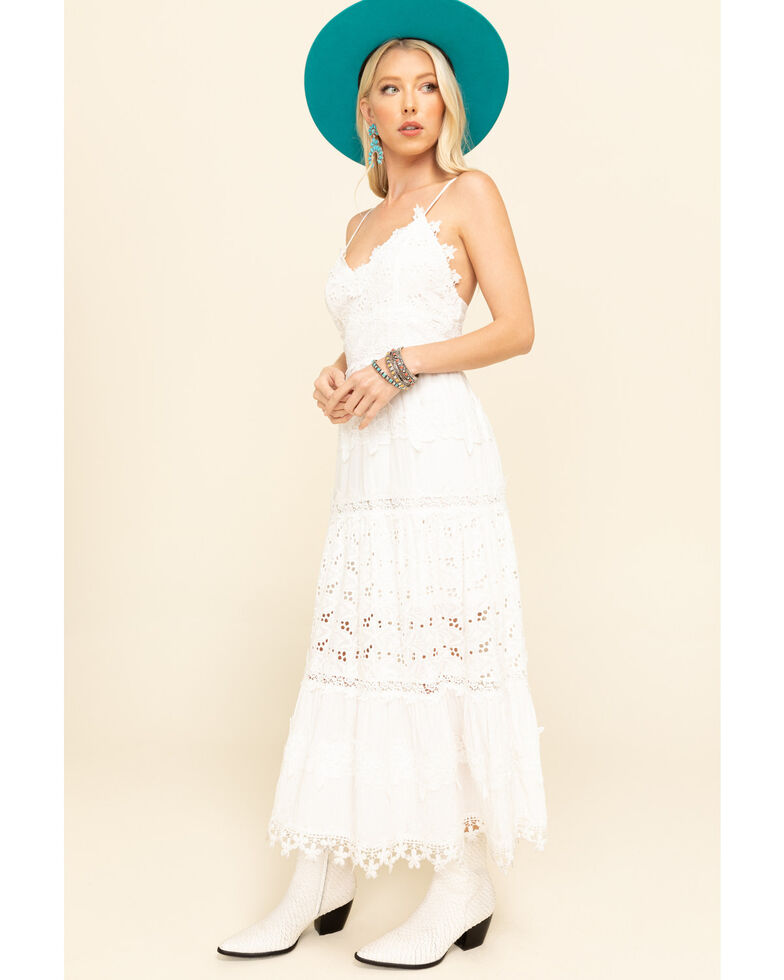Pol Women's White Crochet Tiered Midi Dress, White, hi-res