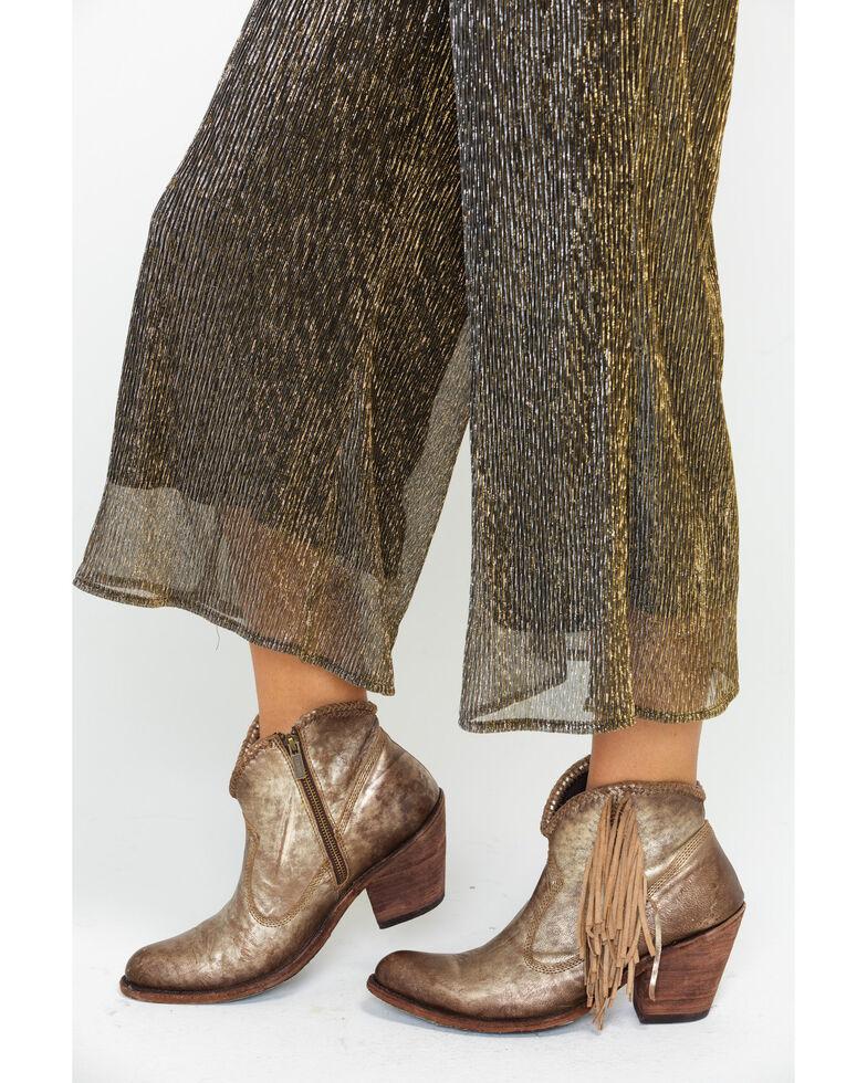 Dance & Marvel Women's Plated Tube Culotte Jumpsuit , Gold, hi-res