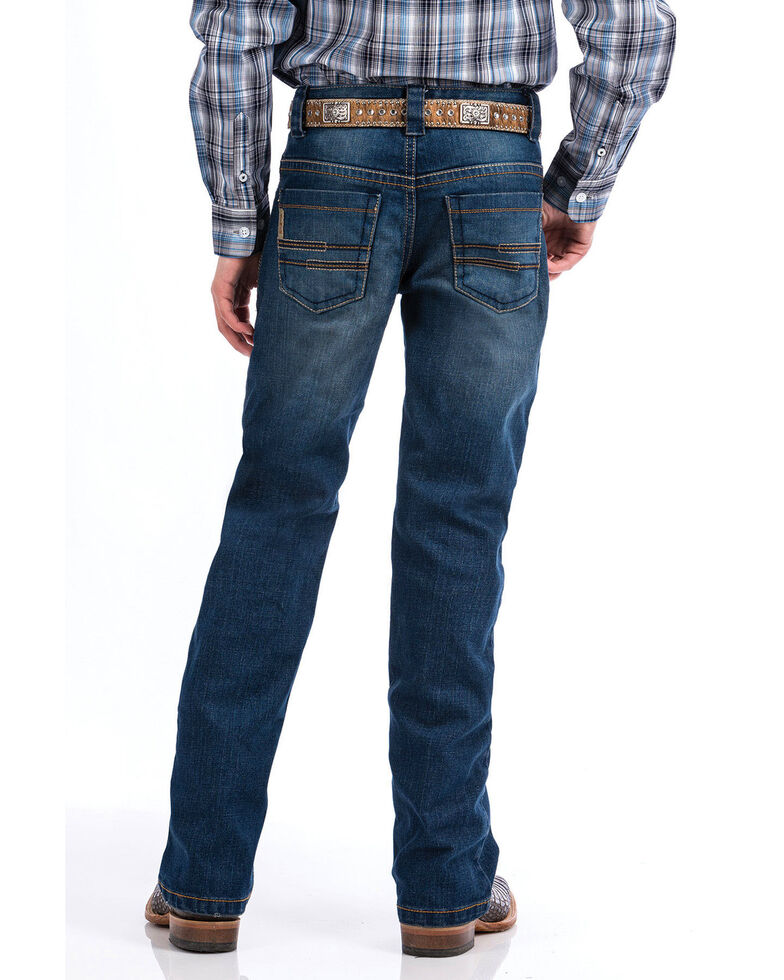 Cinch Boys' Med Stonewash Performance Denim Slim Bootcut Jeans , Indigo, hi-res