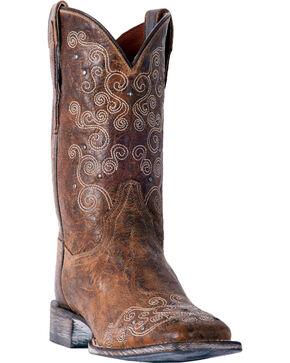 Dan Post Women's Swirlz Brown Cowgirl Boots - Square Toe, Brown, hi-res