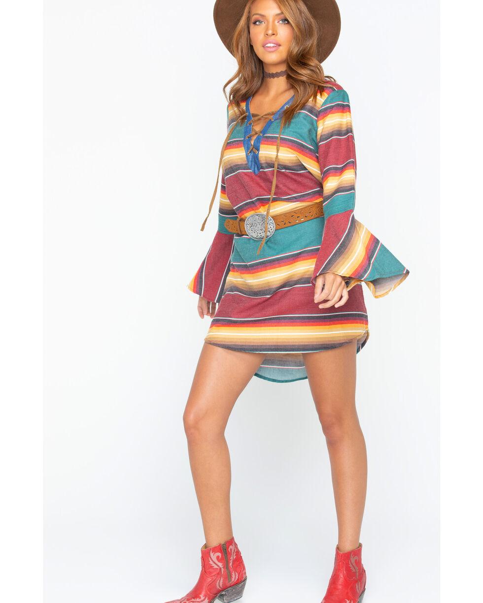 Tasha Polizzi Women's Autumn Serape Tunic Dress , Wine, hi-res