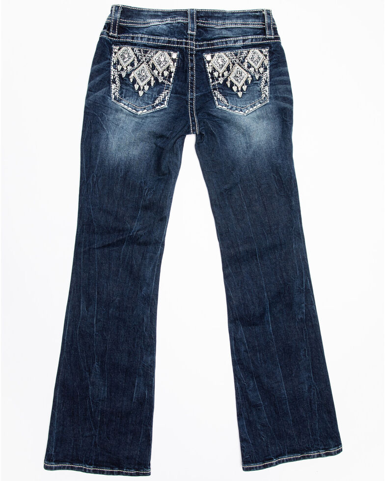 Miss Me Girls' Diamond Embroidered Bootcut Jeans, Blue, hi-res