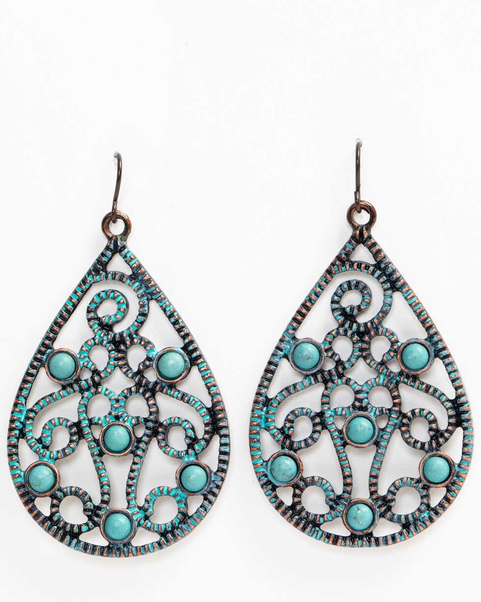 Shyanne Women's Patina Crescent Filigree Turquoise Bead Teardrop Earrings, Turquoise, hi-res