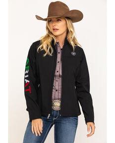 Ariat Women's Mexican Flag Team Softshell Jacket, Black, hi-res