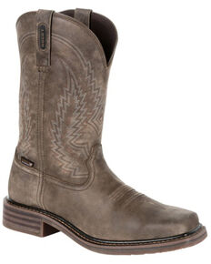 Rocky Men's Riverbend Waterproof Western Boots - Square Toe, Grey, hi-res