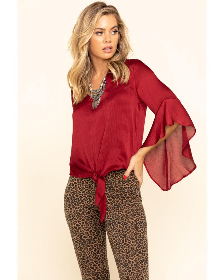 Wrangler Women's Burgundy Tie Front Flutter Sleeve Top, Burgundy, hi-res