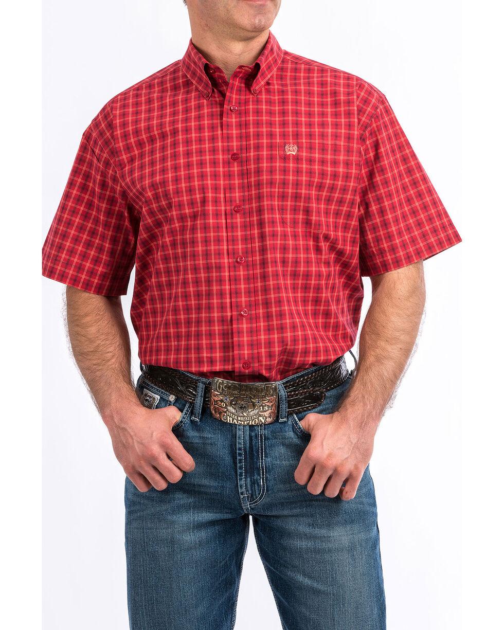 Cinch Men's Red Plaid Short Sleeve Western Shirt - Big , Red, hi-res