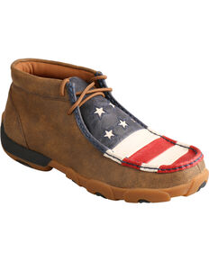 Twisted X Women's VFW American Flag Moc Toe Driving Shoes, Bomber, hi-res