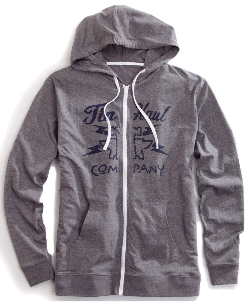 Tin Haul Men's Lightning Bolt Zip-Up Hoodie, Grey, hi-res
