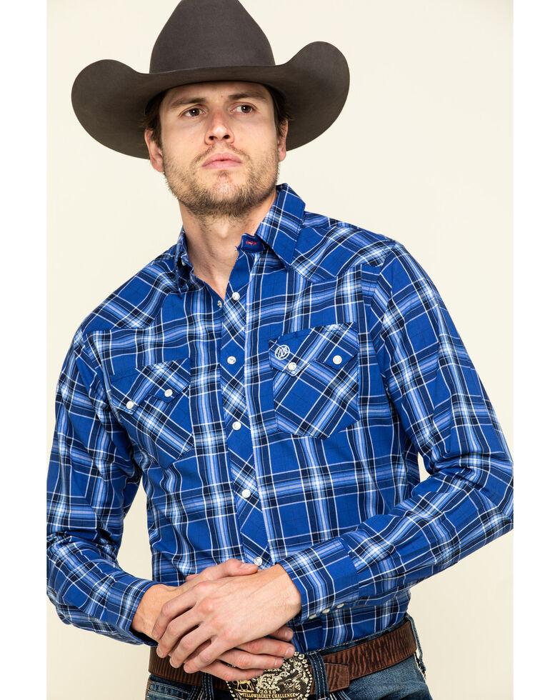 Wrangler Retro Men's Blue Plaid Long Sleeve Western Shirt , Blue, hi-res