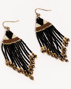 Idyllwind Women's Peyote Beaded Earrings, Black, hi-res
