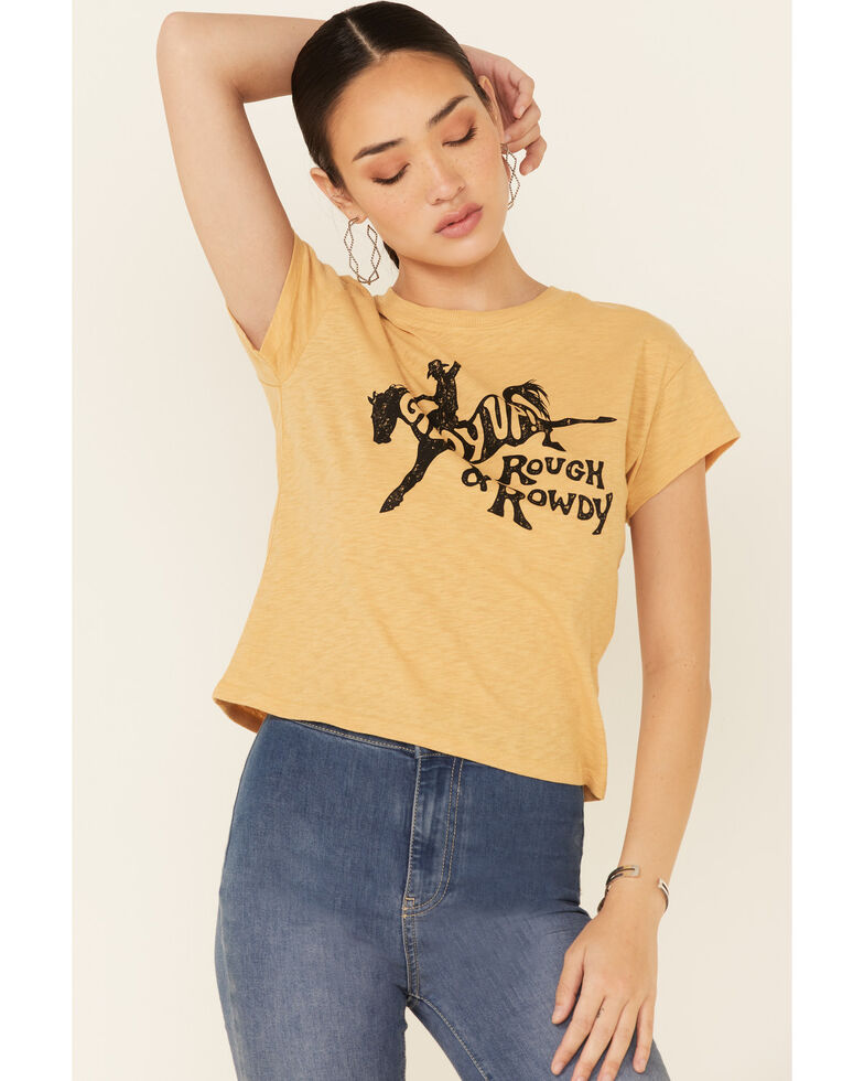 White Crow Women's Giddy Up Rough & Rowdy Graphic Short Sleeve Crop Tee , Dark Yellow, hi-res