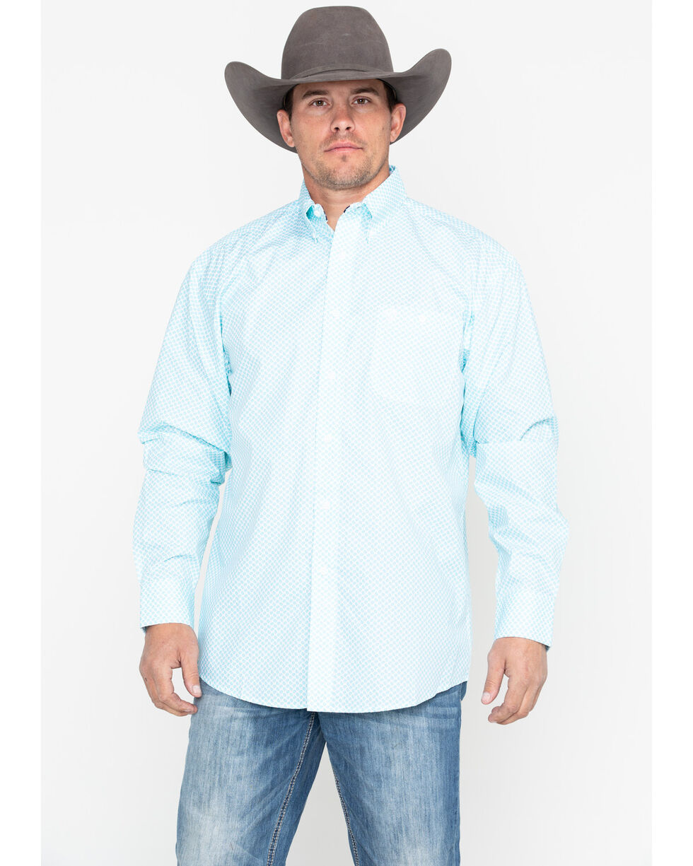 George Strait by Wrangler Men's Small Blue Check Long Sleeve Western Shirt - Big & Tall, Blue/white, hi-res