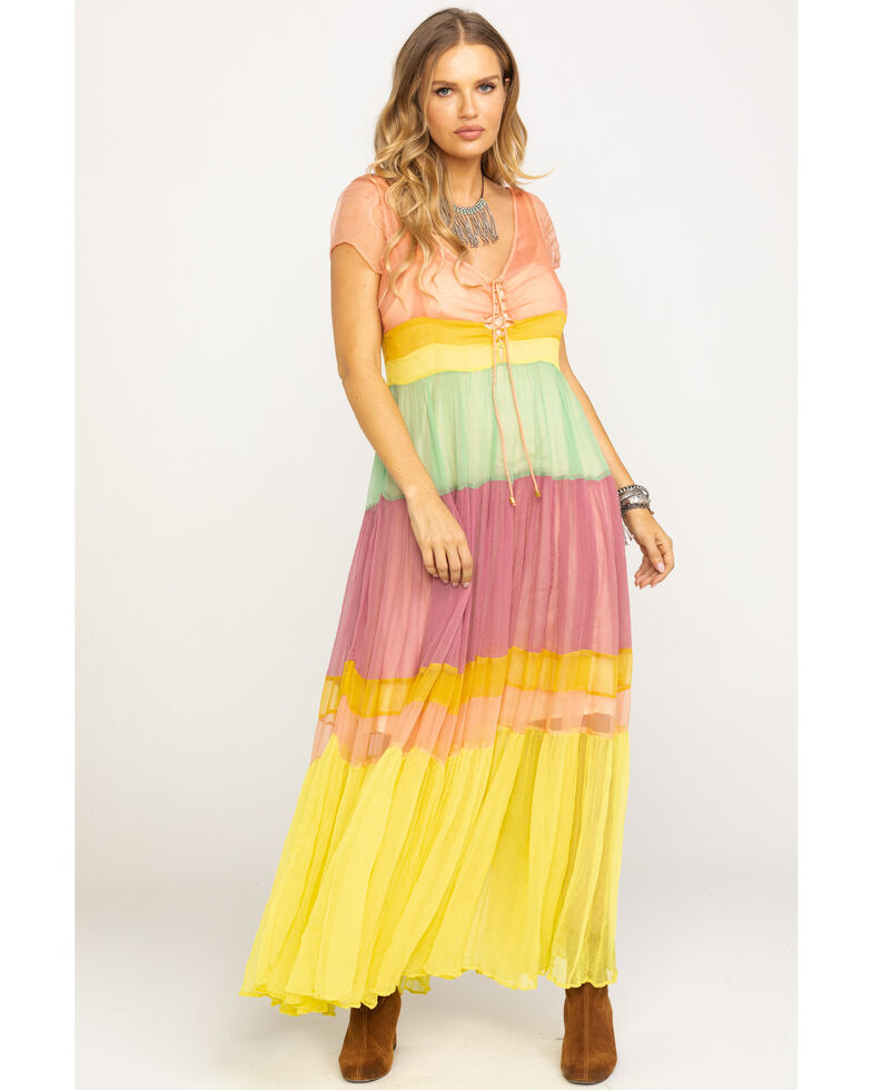 Free People Women's Sherbet Hocus Pocus Pieced Maxi Dress, Yellow, hi-res