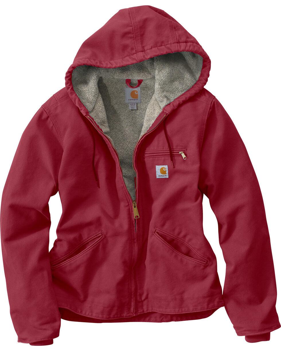 Carhartt Women's Sandstone Sierra Sherpa Lined Jacket, Black Cherry, hi-res