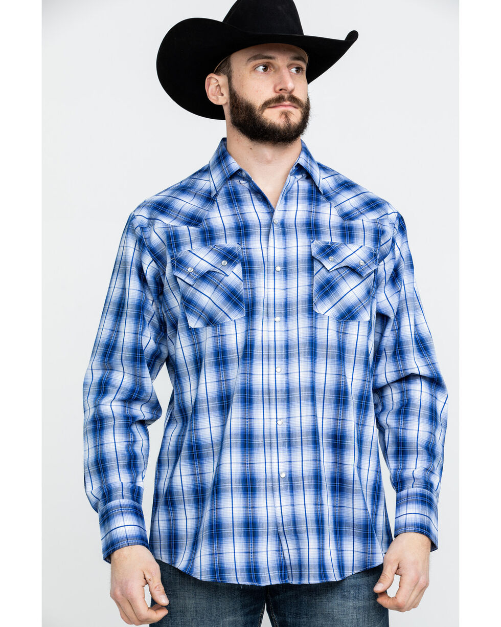 Ely Cattleman Men's Textured Dobby Plaid Long Sleeve Western Shirt - Tall , Blue, hi-res