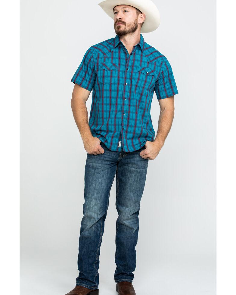 Moonshine Spirit Men's Patriot Act Plaid Short Sleeve Western Shirt , Turquoise, hi-res